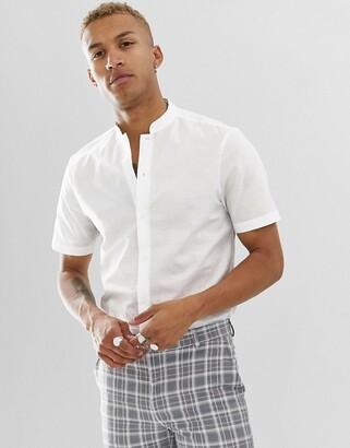 Asos Design DESIGN regular fit smart linen shirt in white