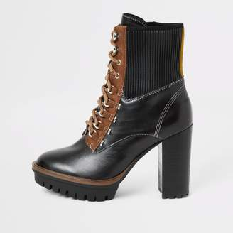 River Island Womens Black heeled lace up hiking boots