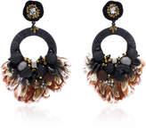 Ranjana Khan Black Hoop Drop Earrings