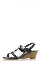 Quiz Black Diamante Flower Wedges