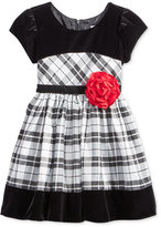 Sweet Heart Rose Velvet Plaid Special Occasion Dress, Little Girls (2-6X)