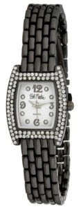 Bob Mackie Women's Black Alloy Bracelet Panther Link Square Stone Bezel Watch, 23mm