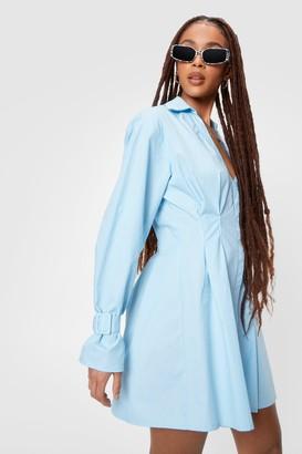 Nasty Gal Womens Long Sleeve Mini Shirt Dress - Blue
