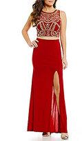 B. Darlin Beaded Illusion Crop-Top Long Two-Piece Dress