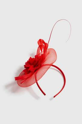 Wallis Red Fabric Flower Fascinator