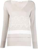 Fabiana Filippi Lace Embroidered V-Neck Jumper