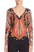 Etro Silk & Cashmere Paisley-Print Sweater