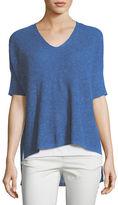 Eileen Fisher Ribbed V-Neck Boxy Slub Top, Petite