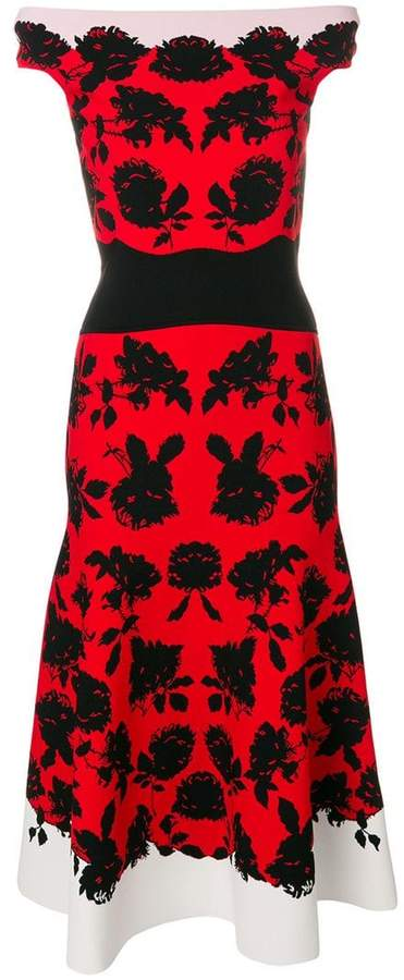 Alexander McQueen off-shoulder floral midi dress