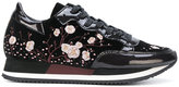 Philippe Model floral patch lace-up sneakers - women - Cotton/Leather/Velvet/rubber - 36