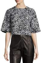 Michael Kors Dotted Matelasse Crop Top, White/Black