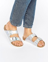 London Rebel Double Buckle Flat Sandal