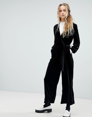 Dr. Denim velvet jumpsuit-Black