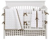 Bacati Quilted Circles White/Chocolate 4 Piece Crib Bedding Set