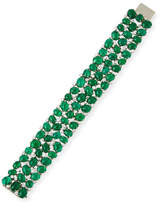 Oscar Heyman Emerald Cabochon Bracelet with Mixed-Cut Diamonds in Platinum