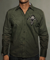 Rebel Spirit Olive 'Rebel Spirit' Back Wing Button-Up - Men's Regular
