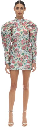 Rotate by Birger Christensen Puffed Sleeve Brocade Mini Dress