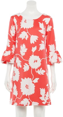 Nina Leonard Women's Floral Ruffle Sleeve Sheath Dress