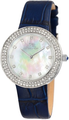 Porsamo Bleu Women's Larissa Crystal Leather Strap Watch, 35mm