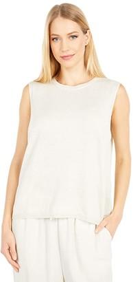 Eileen Fisher Organic Linen Cotton Round Neck Sleeveless Box Top (Bone) Women's Clothing