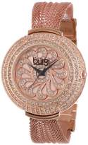 Burgi Women's Glamour Watch with Rose-Gold-Tone Dial and Crystal Mesh Bracelet BUR051RG