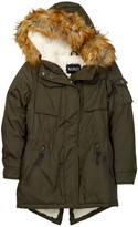 XOXO Faux Fur Trim Hood Fleece Lined Stadium Jacket (Little Girls)