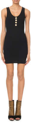 Balmain Sleeveless Button-Front Ribbed Dress