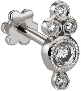 Maria Tash White Gold Four Diamond Trinity Threaded Earring