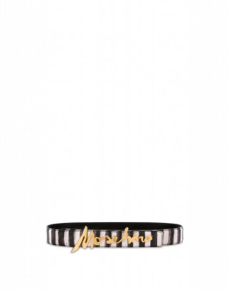 Moschino Printed Belt With Signature Logo Woman Black Size 38 It - (4 Us)