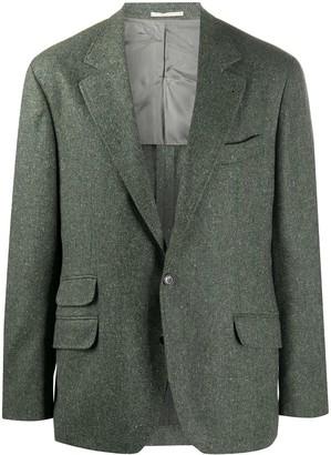 Brunello Cucinelli Single-Breasted Herringbone Wool Blazer