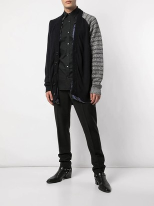 Raf Simons Cotton Cardigan With Contrast Sleeve Grey