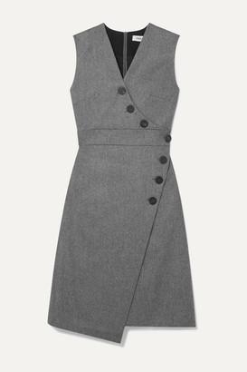 Cefinn Blake Wrap-effect Wool-blend Dress - Gray