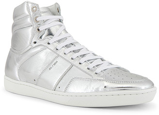 Saint Laurent Leather Up Sneaker in Silver | FWRD