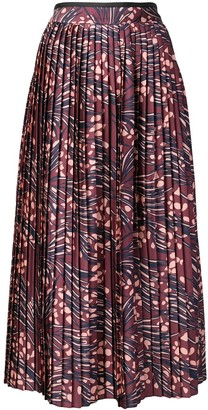 Victoria Victoria Beckham Printed Pleated Skirt