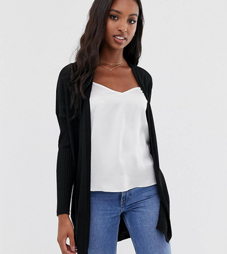 Asos Tall DESIGN Tall long line fine knit cardi in recycled blend-Black