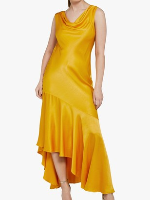 Ghost Darcey Satin Asymmetric Hem Dress