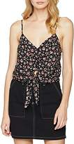 New Look Women's Button Detailed Tie Front Cami T-Shirt,(Manufacturer Size:14)