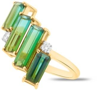 Tresor Collection Green Tourmaline & Diamond Statement Ring Band In 18K Yellow Gold