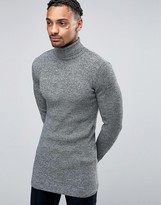 Asos Longline Muscle Fit Ribbed Roll Neck Jumper