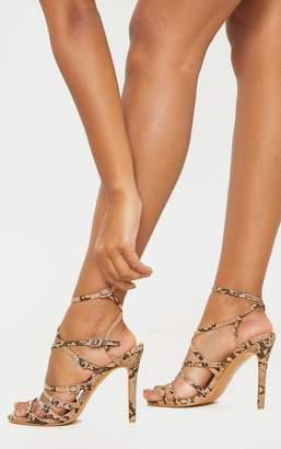 PrettyLittleThing Brown Snake Buckle Detail Multi Strap Sandal