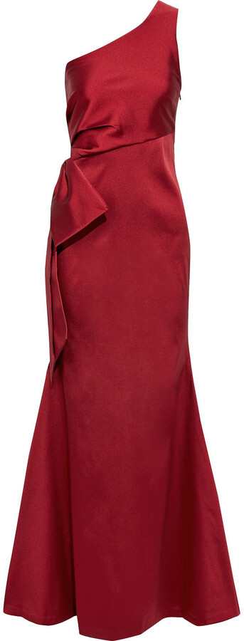 Sachin + Babi One-shoulder Bow-embellished Satin-twill Gown