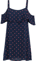 Splendid Cold-Shoulder Polka-Dot Crepe Mini Dress