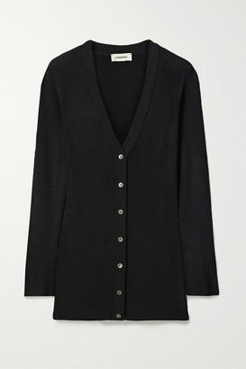 L'Agence Lucas Long Stretch-knit Cardigan - Black