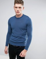 Armani Jeans Crew Knit Jumper Logo Regular Fit In Blue