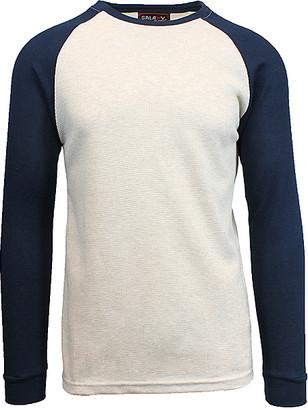 Galaxy By Harvic Galaxy by Harvic Men's Tee Shirts Oatmeal/Navy - Oatmeal & Navy Raglan Thermal Shirt - Men