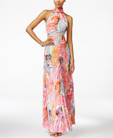 INC International Concepts Petite Printed Pleated Maxi Dress, Created for Macy's