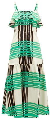 Borgo de Nor Florence Checked Cotton-poplin Dress - Green White
