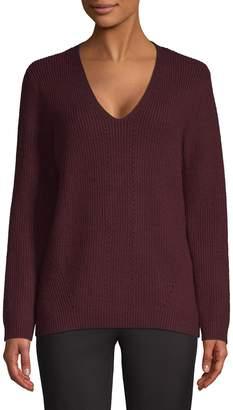 Halston H Ribbed V-Neck Sweater