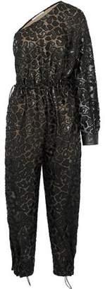 Stella McCartney Animalier One-shoulder Cutout Faux Leather-appliqued Chiffon Jumpsuit