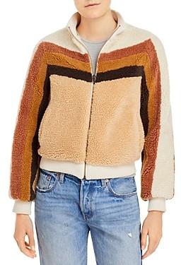 Mother Striped Sherpa Jacket